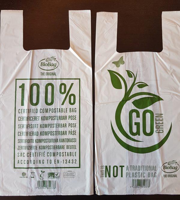 BioBag T-Shirt, pentru cumparaturi, compostabile OK Home Compost